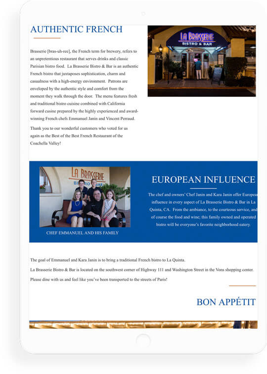 La Brasserie web design