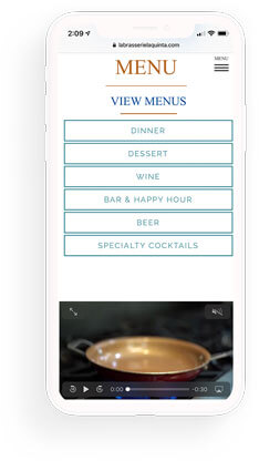 La Brasserie mobile web design