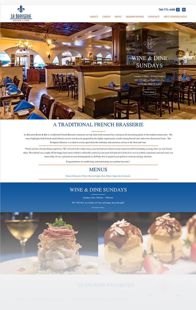 La Brasserie responsive web design