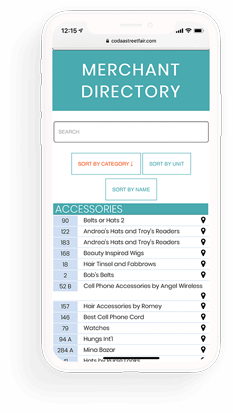 Merchant Directory on mobile website