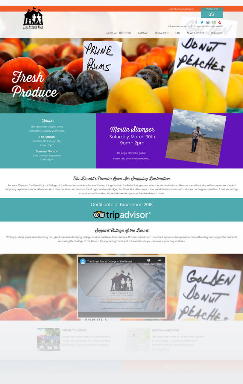 Responsive website for outdoor market