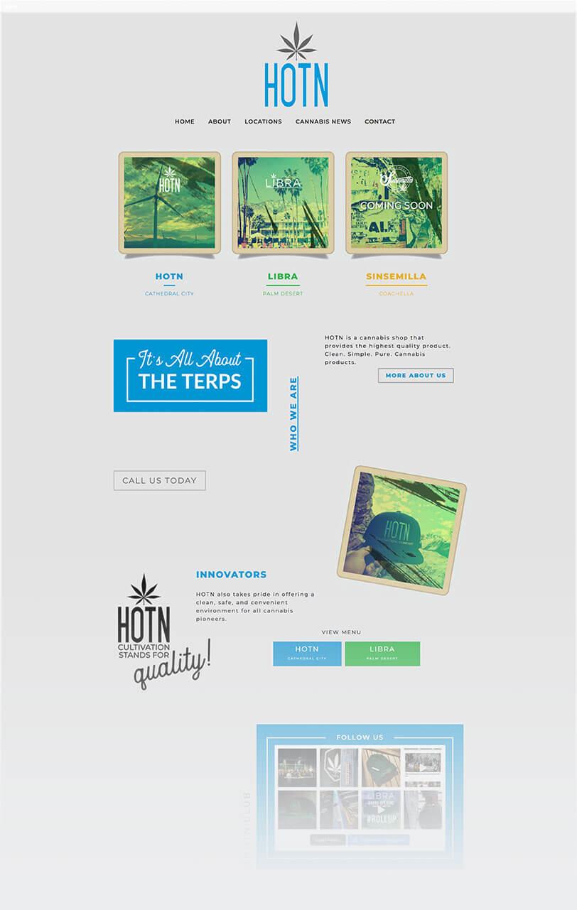 cannabis shop web design with social media integration