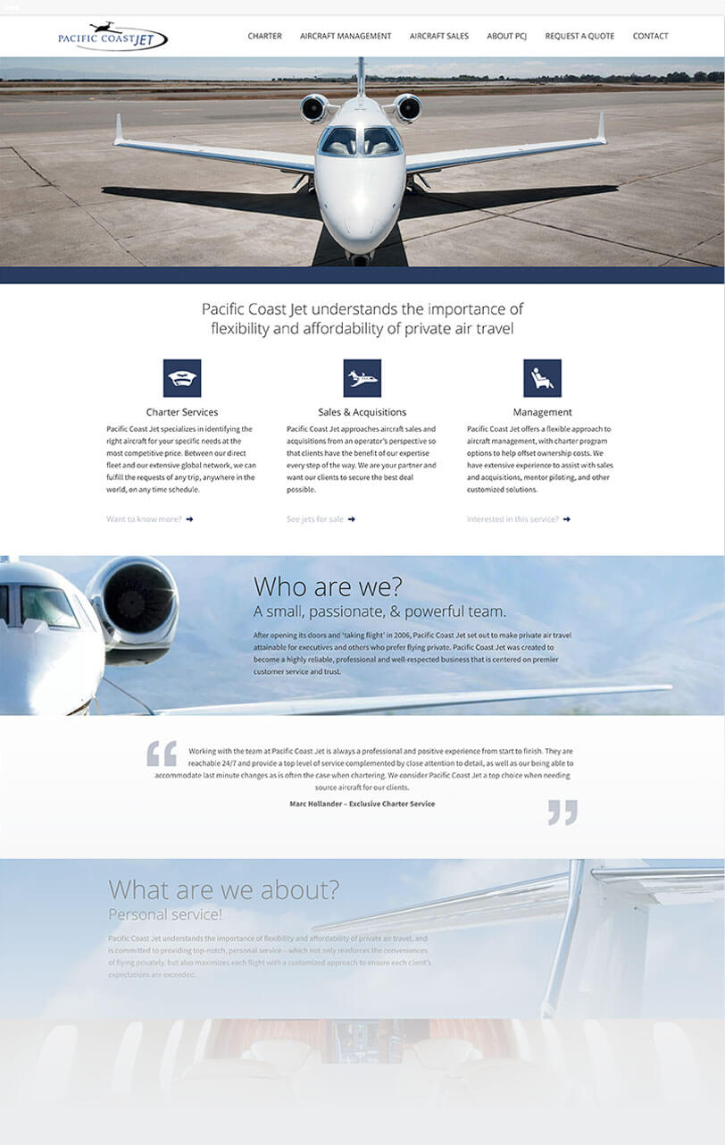 Pacific Coast Jet responsive website
