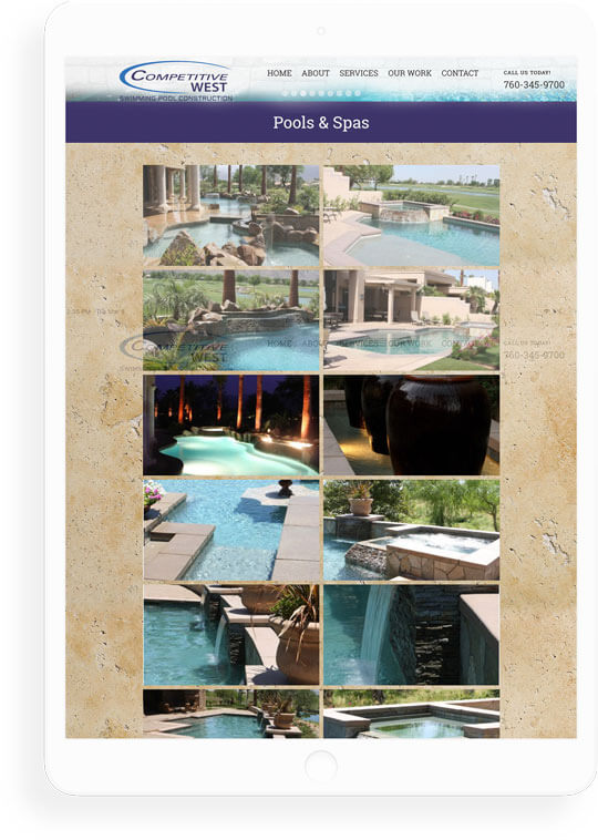 Competitive West Pools web design