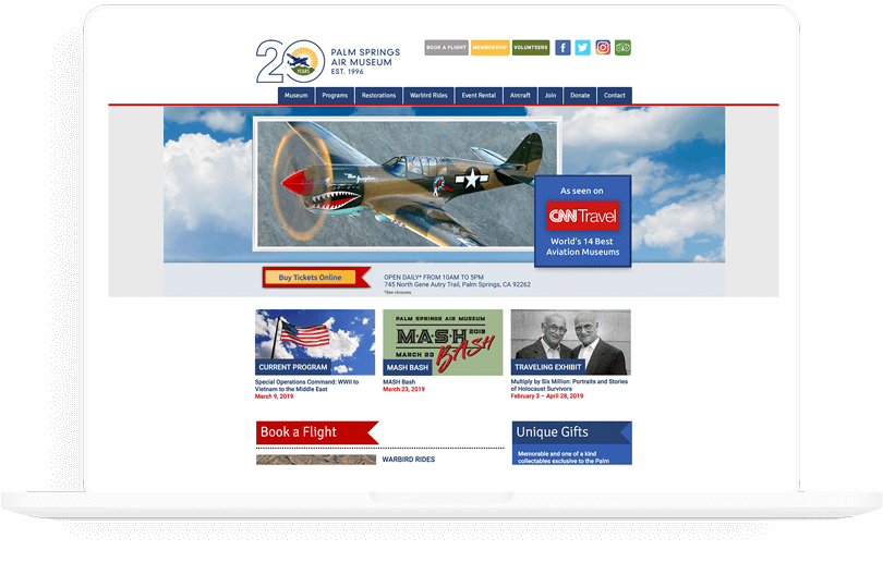 Palm Springs Air Museum web design
