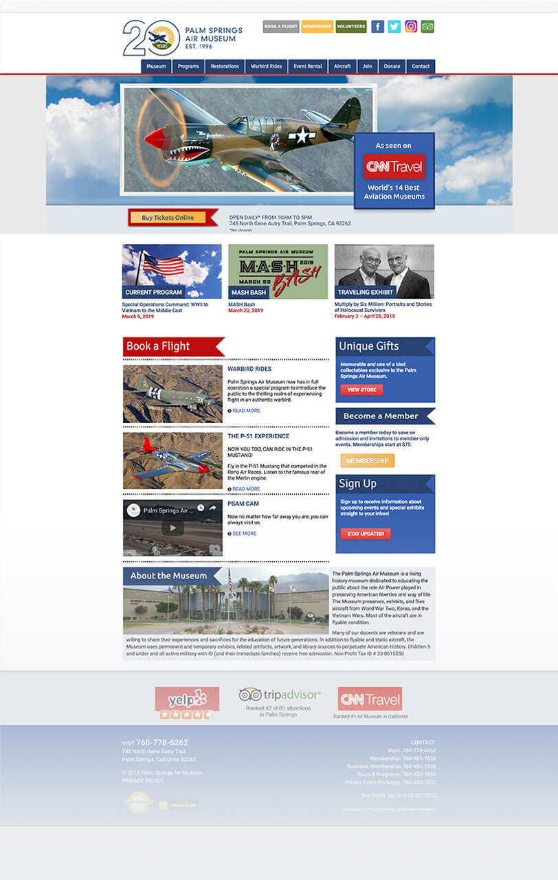Palm Springs Air Museum responsive web design