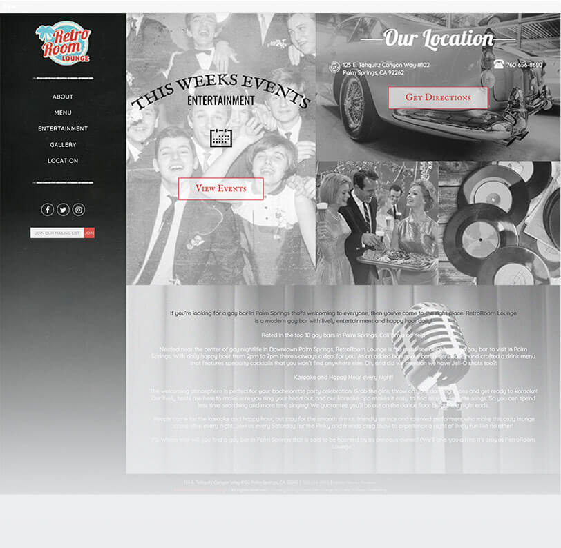RetroRoom responsive website design