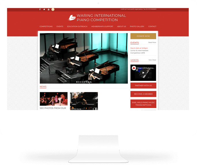 Waring International Piano Competition web design