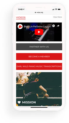 international piano competition mobile web design