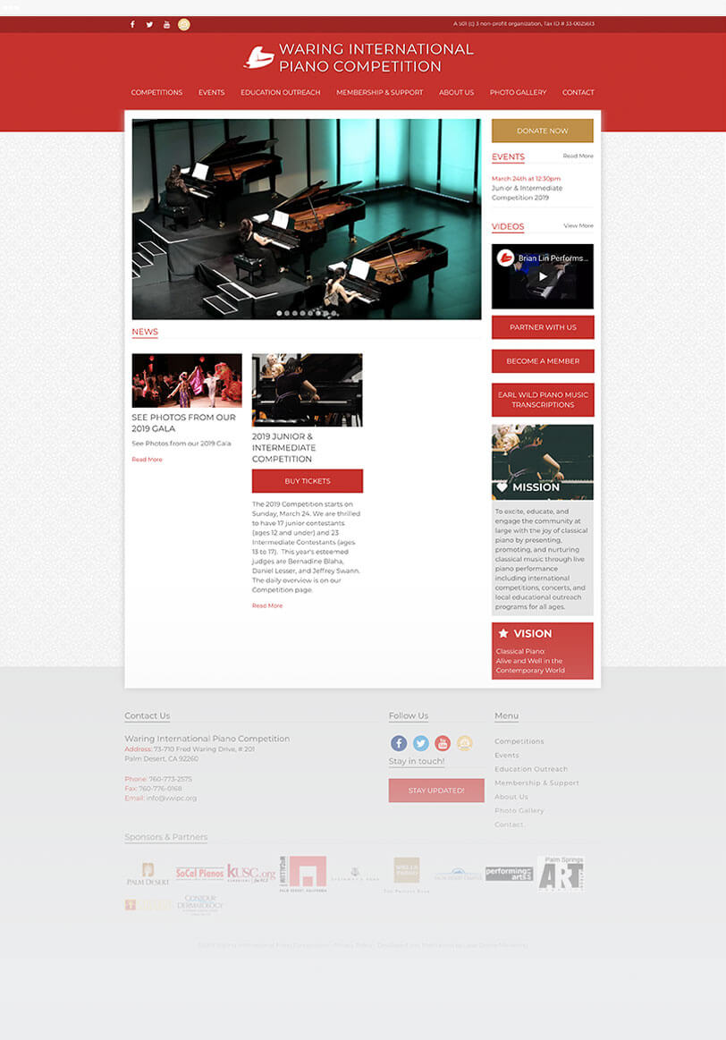 Waring International Piano Competition responsive web design