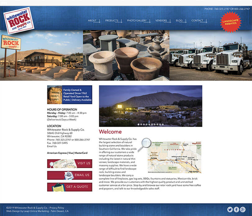 Whitewater Rock & Supply Co. responsive web design