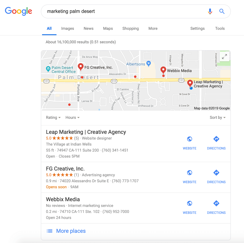 Google local pack search results